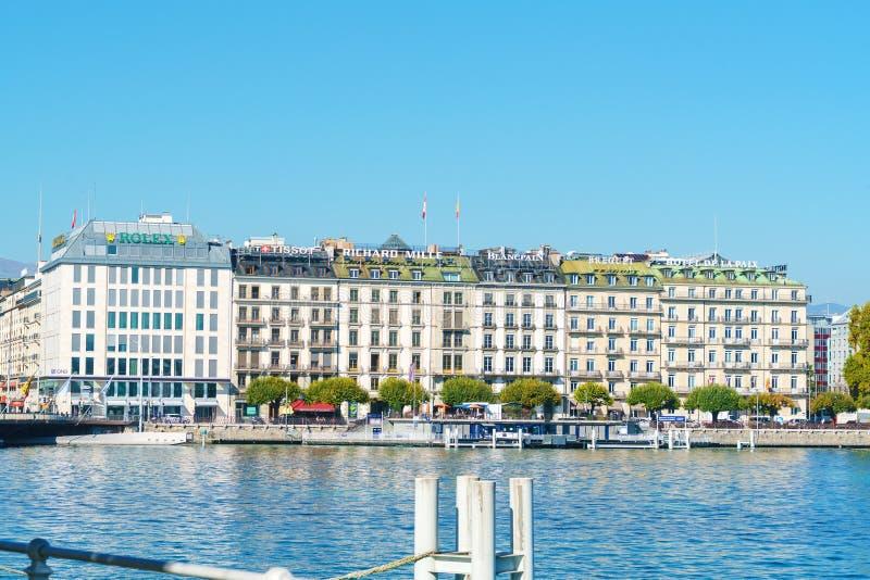 Genewa Szwajcaria, Październik, - 18, 2017: Główny deptak na jeziorze G obraz royalty free