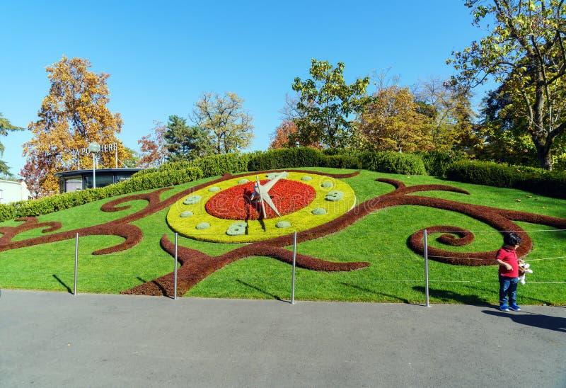 Genewa Szwajcaria, Październik, - 18, 2017: L horloge fleurie lub th, zdjęcia royalty free