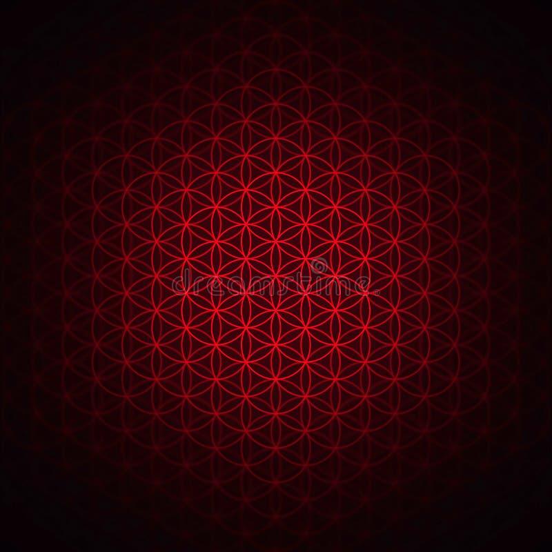 Geneza wzór - kwiat życie czerwień royalty ilustracja