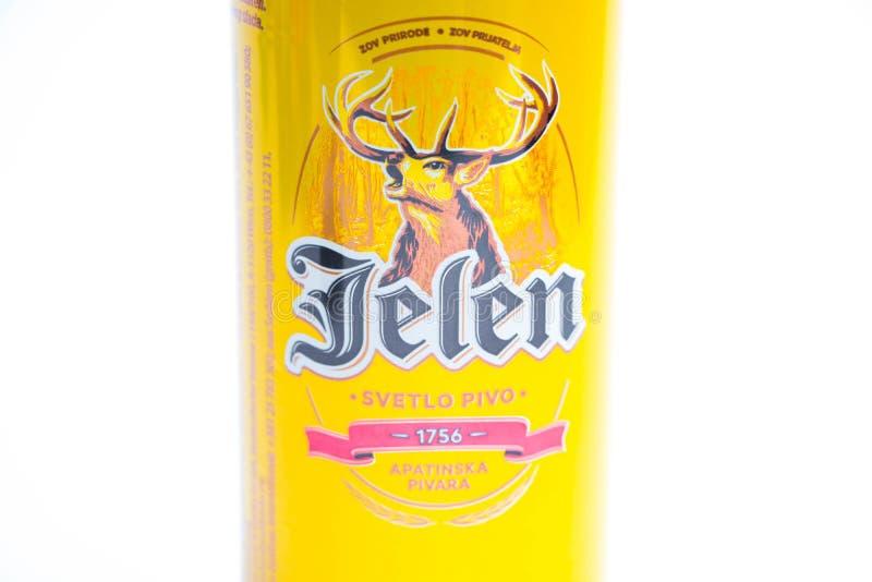 """Genf-/Schweiz-†""""03 03 2019: Jelen-Bier kann von Serbien lokalisierte auf Weiß stockbild"""