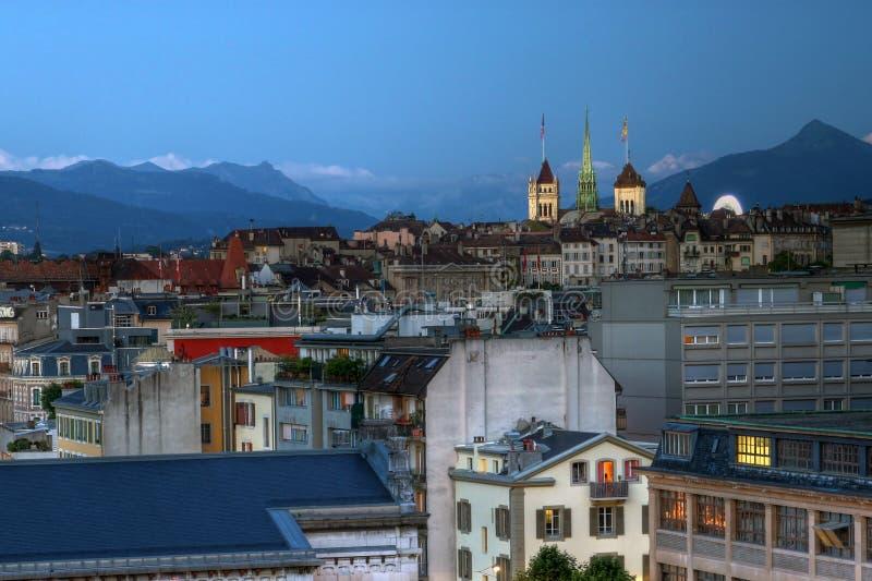 Genf-Skyline in HDR, die Schweiz stockbild