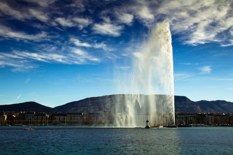 Genf Wasserstrahl stockfotografie
