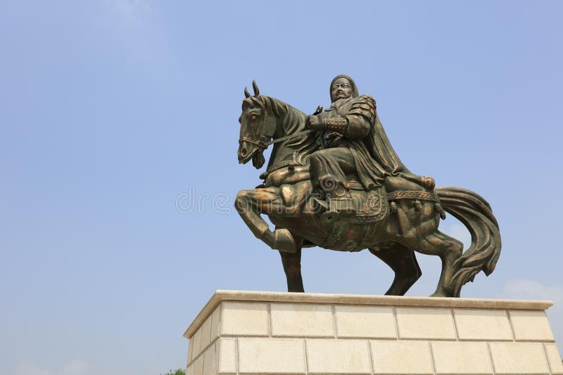 The genghis khan bronze sculpture, adobe rgb. Genghis khan mausoleum at ordos city, china. tiemuzhen, may 31, 1162 - august 25, 1227, khan of great mongolia, an stock image