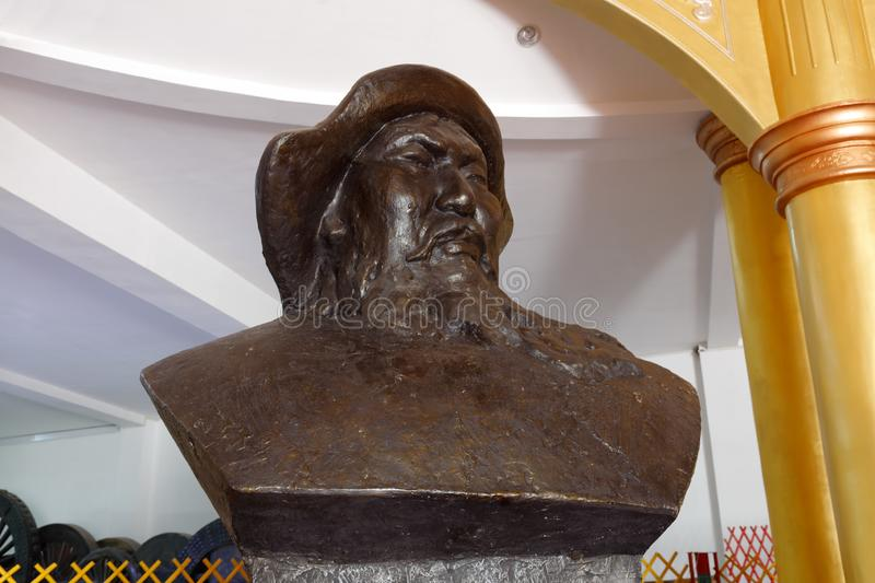 The genghis khan bust bronze sculpture, adobe rgb. Genghis khan mausoleum at ordos city, china. tiemuzhen, may 31, 1162 - august 25, 1227, khan of great mongolia stock images