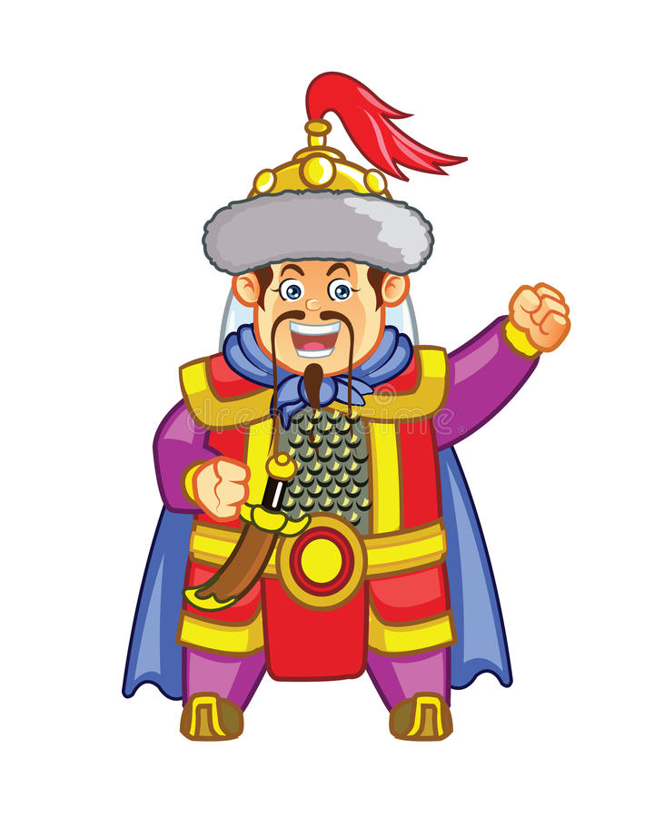 Genghis Khan Chibi Cartoon Mascot illustration stock