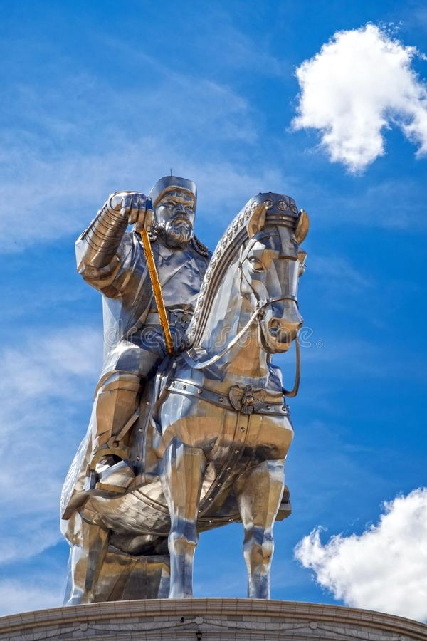Genghis Khan equestrian statue 2008. The Genghis Chinggis Khan equestrian statue is located around 55 km east of Ulaanbaatar, capital of Mongolia. The statue royalty free stock image