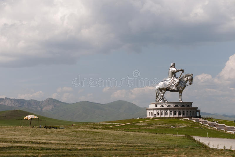 Genghis Khan. An impressive statue of Genghis Khan through the Mongolian car royalty free stock photo