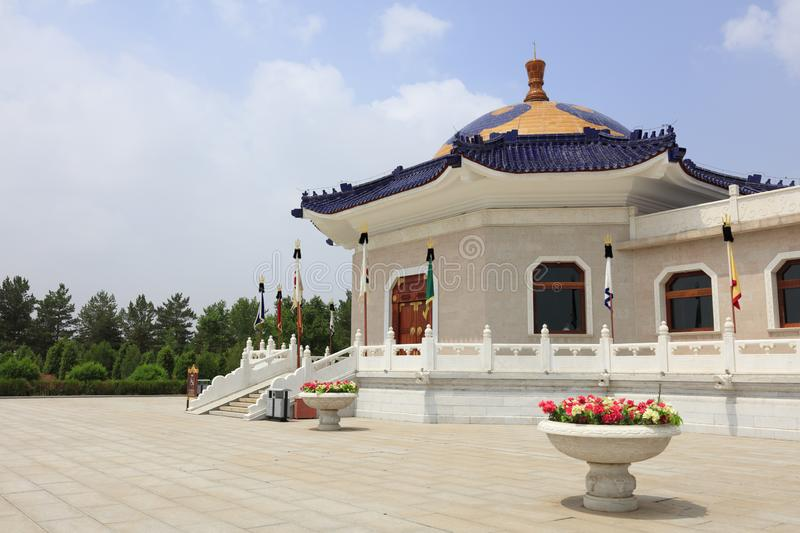 The main building of genghis khan mausoleum, adobe rgb. Genghis khan mausoleum at ordos city, china. tiemuzhen, may 31, 1162 - august 25, 1227, khan of great stock images