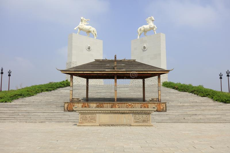 Horse sculpture of genghis khan mausoleum, adobe rgb. Genghis khan mausoleum at ordos city, china. tiemuzhen, may 31, 1162 - august 25, 1227, khan of Great stock image