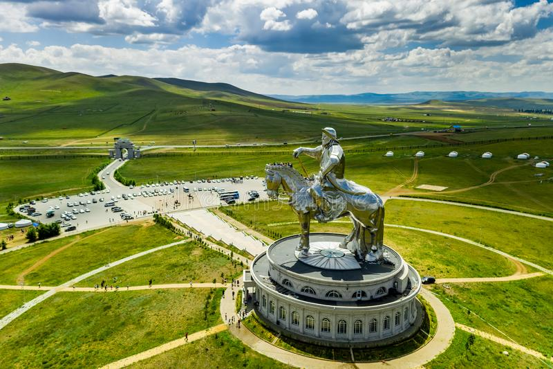 Genghis Khan Monument at Zonjin Boldog Mongolia stock photography