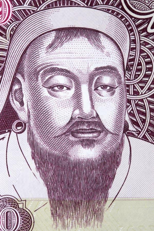 Genghis Khan a portrait. Genghis Khan portrait from Mongolian money stock photography