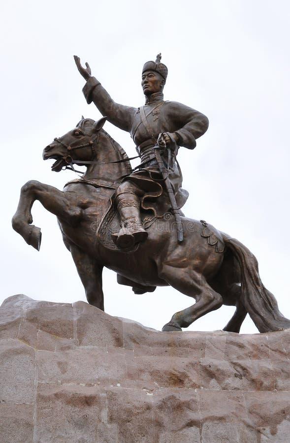 Genghis Khan, Sukhbaatar Square, Ulaanbaatar. Iconic statue of Mongolian hero Genghis Khan in Sukhbaatar Square, Ulaanbaatar stock image