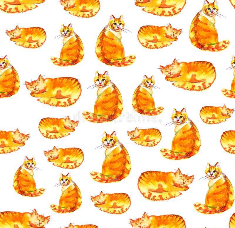 Gengibre dos gatos Teste padrão sem emenda da aquarela no fundo branco ilustração stock