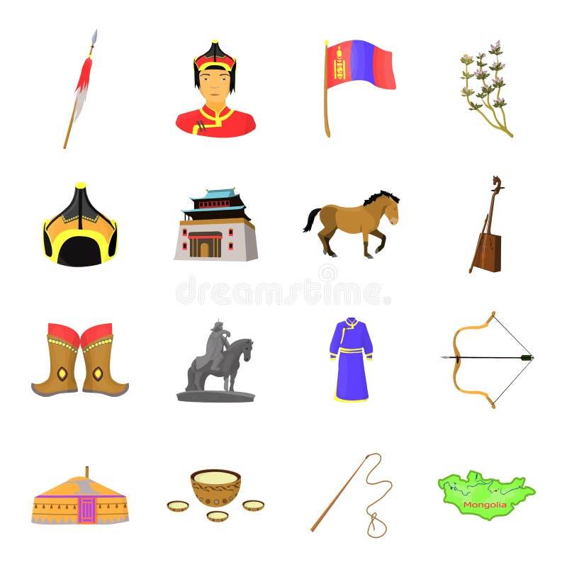 Gengis Khan, un monastero, Yurt ed altre viste della Mongolia Icone stabilite della raccolta della Mongolia nel vettore di stile  royalty illustrazione gratis