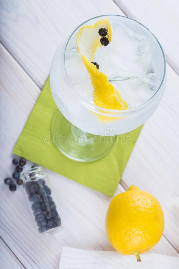 Genièvre et tonique sur un verre de highball images stock