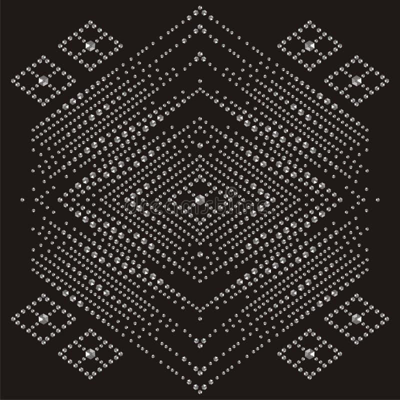 Genialne kamienia ukośnika wzoru kolii bransoletki Piękna biżuterii broszka Moda ornamentu cenna, srebna aplikacja krystaliczna, ilustracja wektor