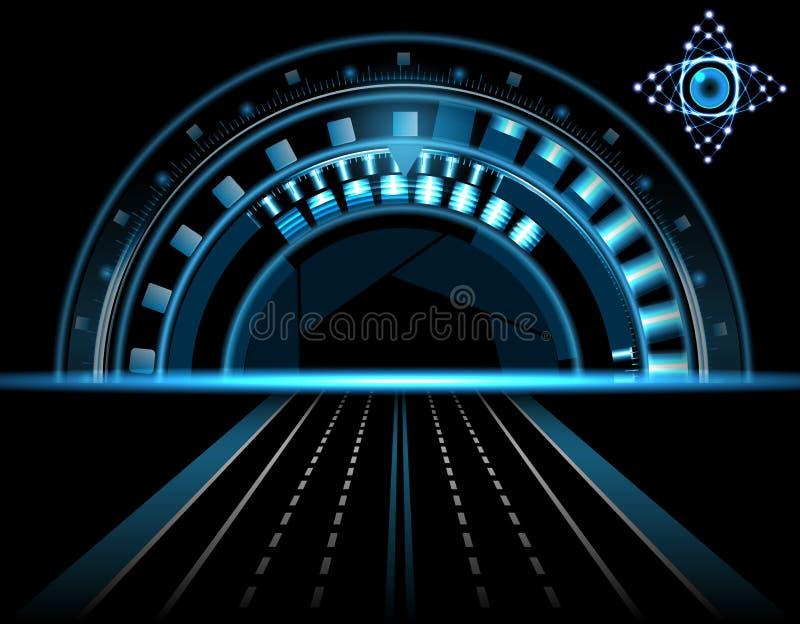 Genialny technologiczny oko HUD na czarnym tle Obiektyw z aperturą Głowa pokaz Droga, autostrada ilustracja ilustracja wektor