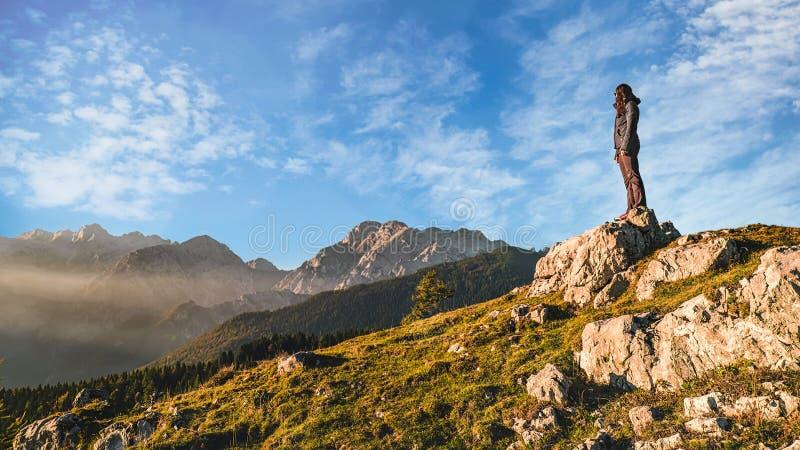 Genießen der Ansicht von Alpen stockfotos