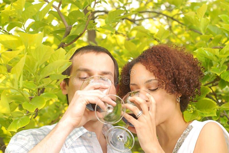 Genießen des Weins lizenzfreie stockfotografie