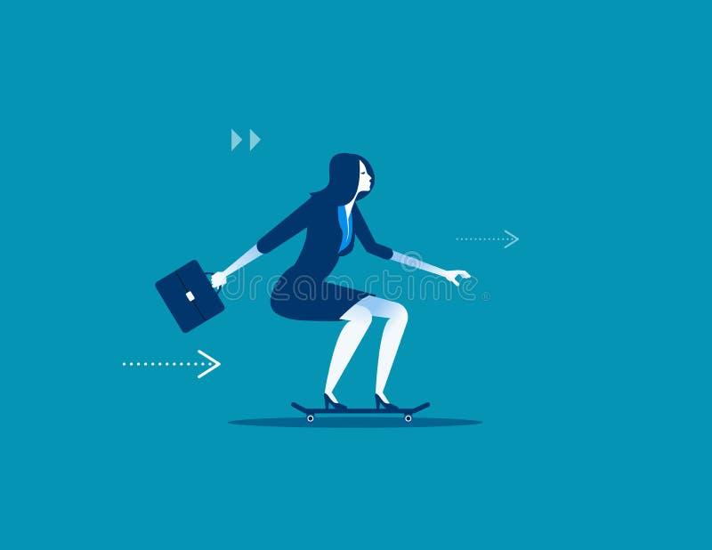 Genießen Sie Geschwindigkeit Geschäftsfrau auf Skateboard Konzeptgeschäft illus vektor abbildung