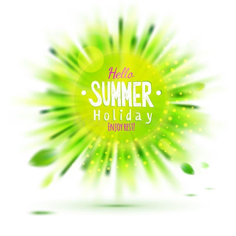 Genießen Sie Sommerferien verwischte Kreisaufkleber des grünen Grases lizenzfreie abbildung