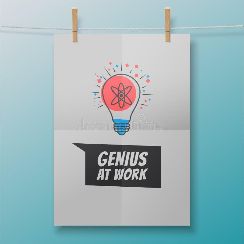 Genie bij het werkaffiche zoals atoom binnen lightbulb royalty-vrije illustratie