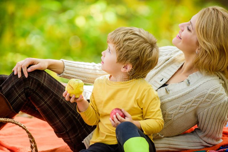Genie?en des Fr?hlingsfeiertags Mutter lieben ihr kleines Jungenkind Glücklicher Sohn mit Mutter entspannen sich im Herbstwaldson lizenzfreie stockfotografie