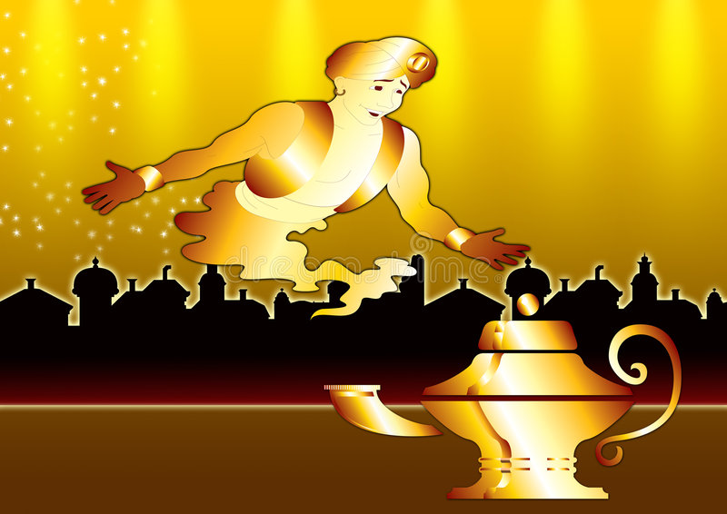 Genie in gold city stock illustration