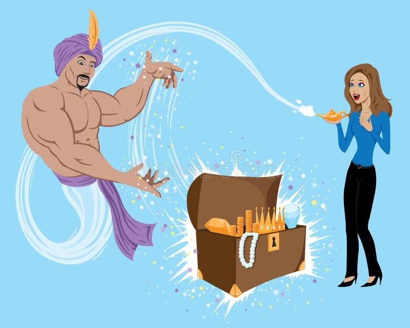 Genie Granting Wish royalty free illustration