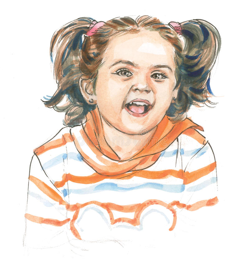 Download Little Girl In A Happy Mood Stock Illustration - Illustration of hand, gesture: 31482541