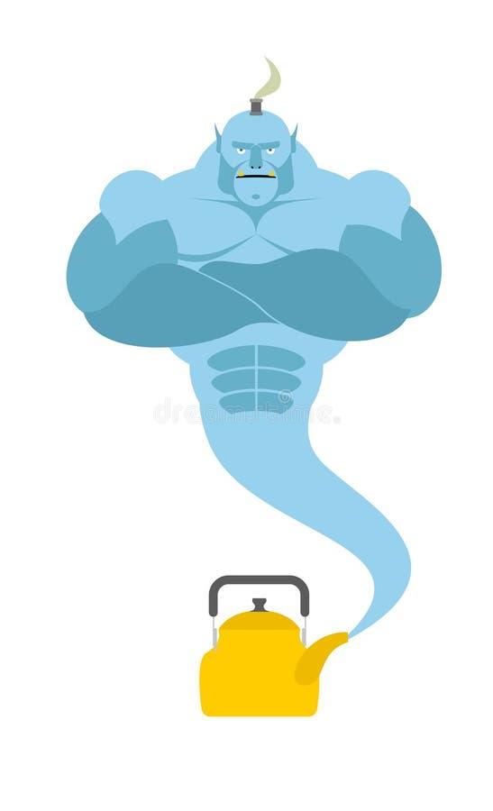 Genie from kettle. Blue Magic spirit fulfills desires. Vector i royalty free illustration