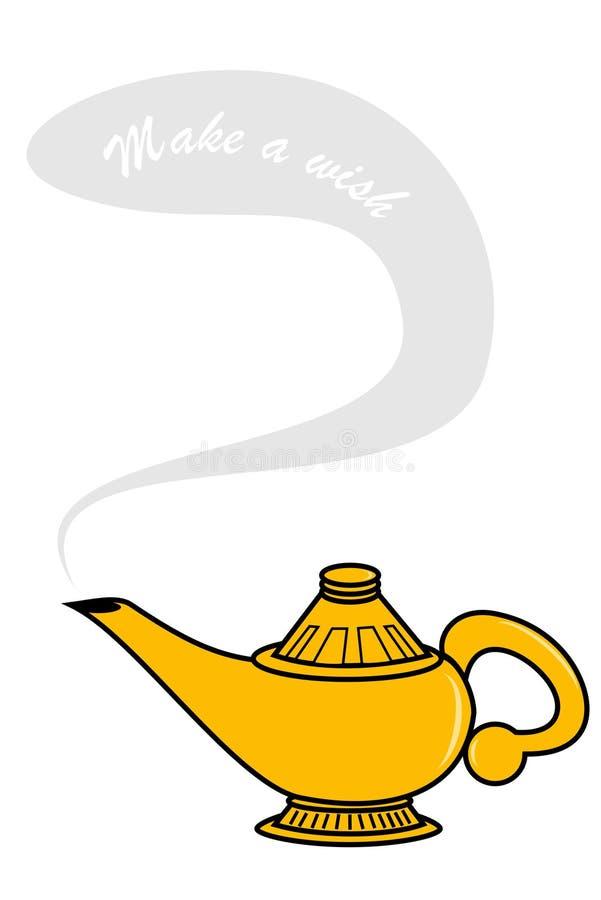 Genie Lamp. Make a wish genie lamp stock illustration