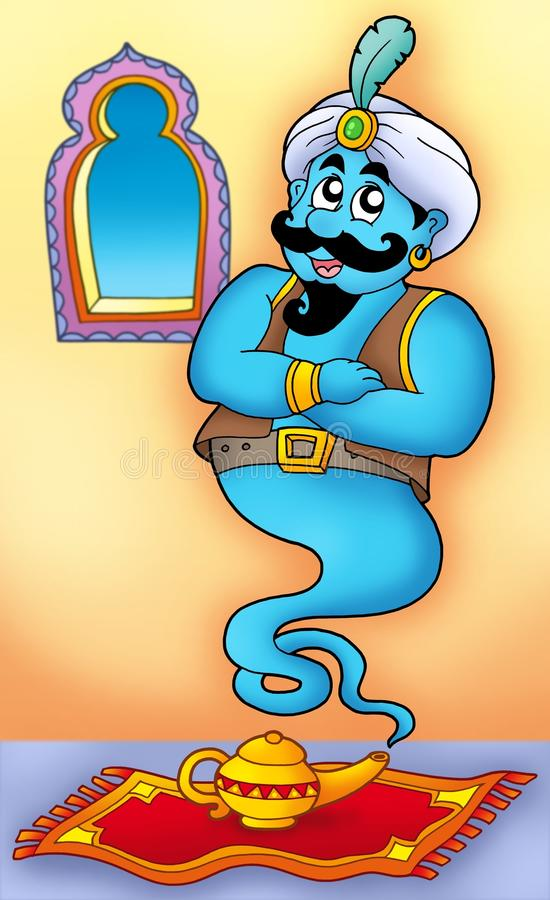 Genie from lamp on carpet stock illustration
