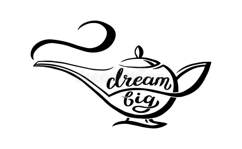 Genie lamp with unique hand written quote - dream big, lettering composition. Vector Illustration with magic object from vector illustration