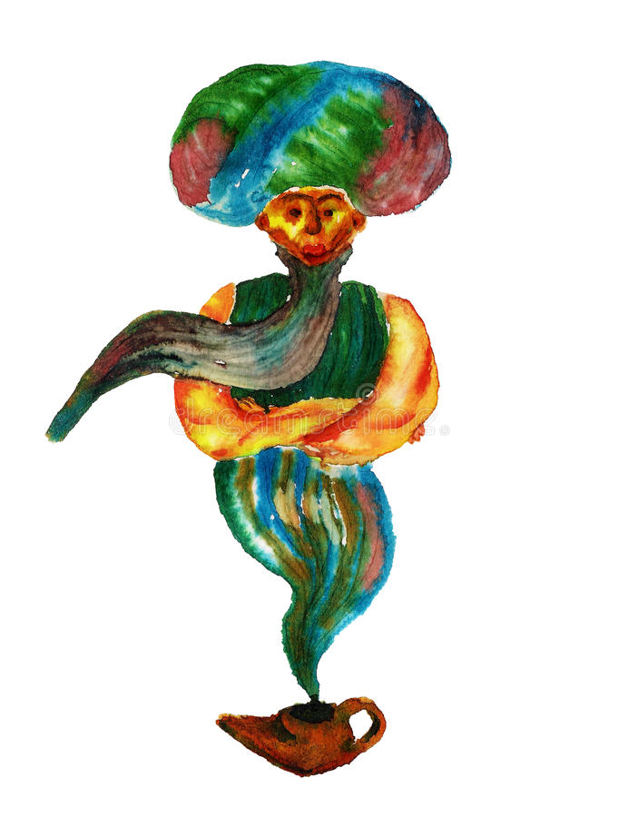 Genie of the lamp royalty free illustration