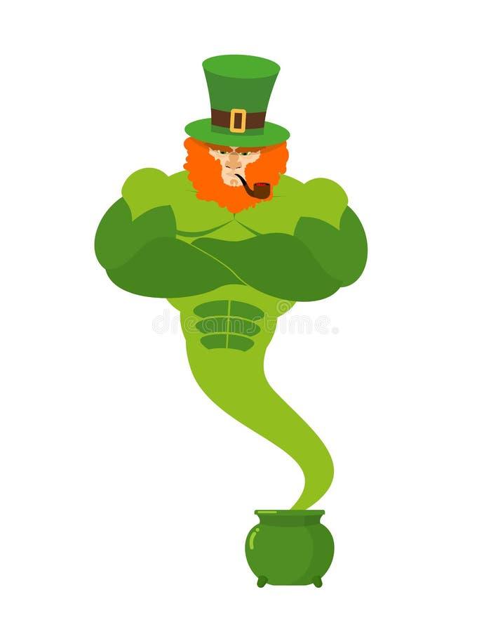 Genie leprechaun. magical spirit of St. Patrick's Day Green pot vector illustration
