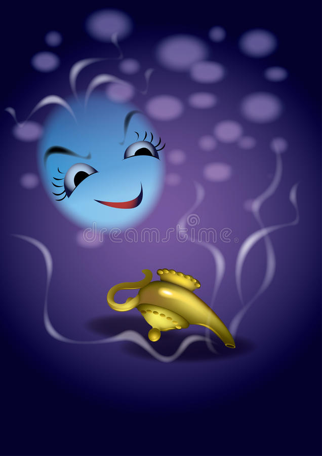 Genie and the Magic Lamp royalty free illustration