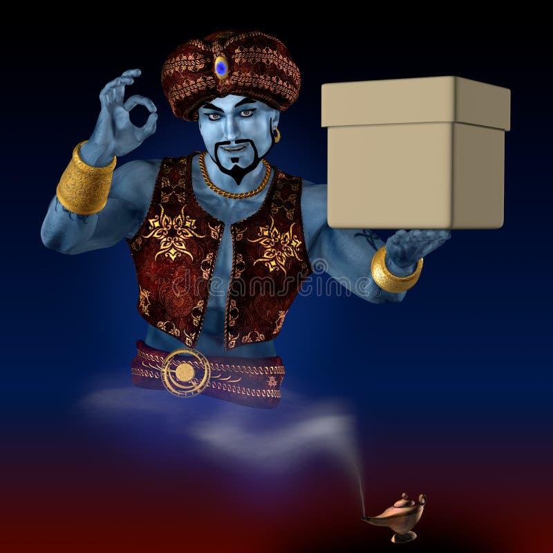 Genie met een doos. stock illustratie