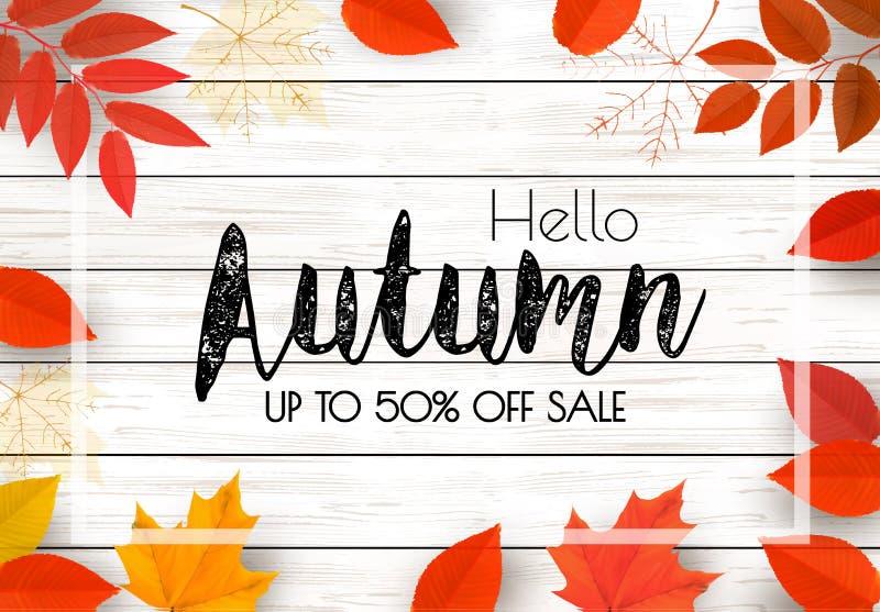 Geniet Autumn Sale-van achtergrond met de herfstbladeren vector illustratie