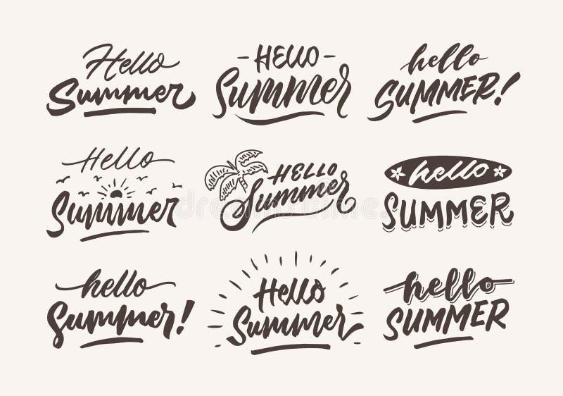 Geniet vakantie van wijnoogst ruwen hand - het gemaakte malplaatje van de de illustratieaffiche van de borstel van letters voorzi vector illustratie