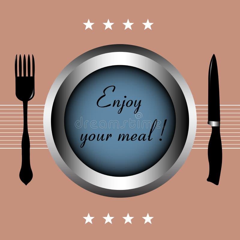 Geniet van uw maaltijd stock illustratie