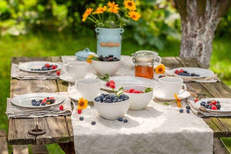 Geniet van uw pannekoeken met verse bosbessen en honing royalty-vrije stock afbeelding