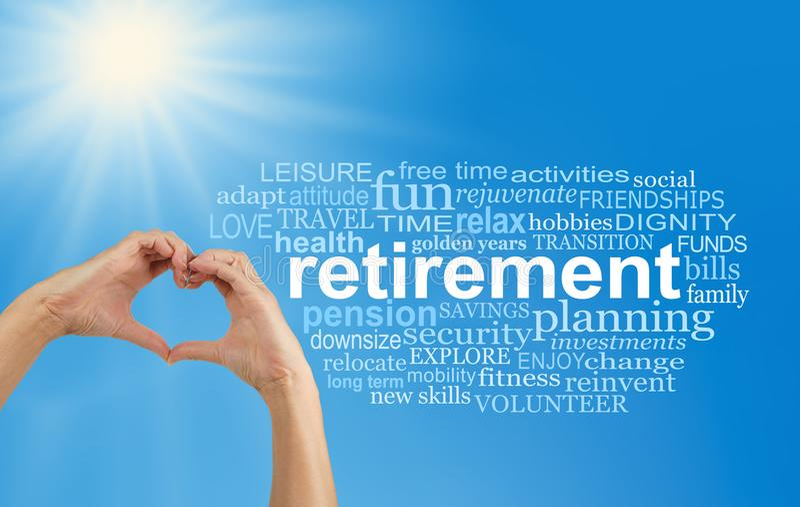 Geniet van uw Pensionering aan de volledige Word Wolk stock foto