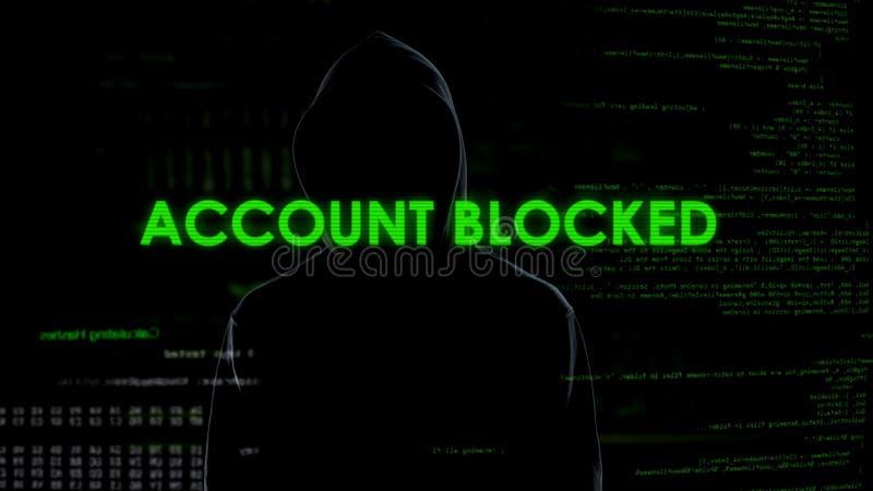 Genio cibernético que bloquea la cuenta de clientes del banco, amenaza para la seguridad financiera fotografía de archivo libre de regalías