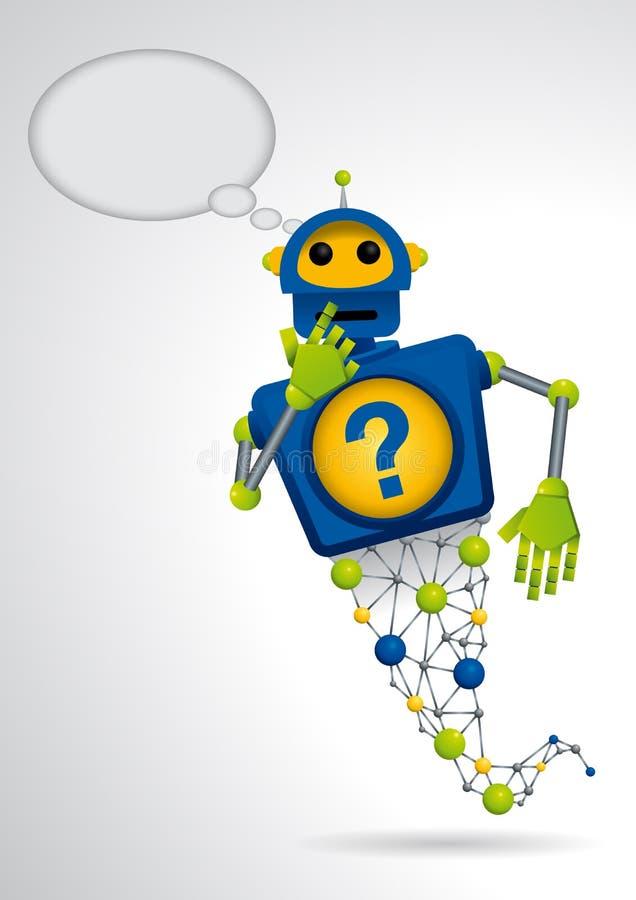 Genios azules del robot con su mano en el mandíbula en la actitud del pensamiento en el fondo blanco ilustración del vector