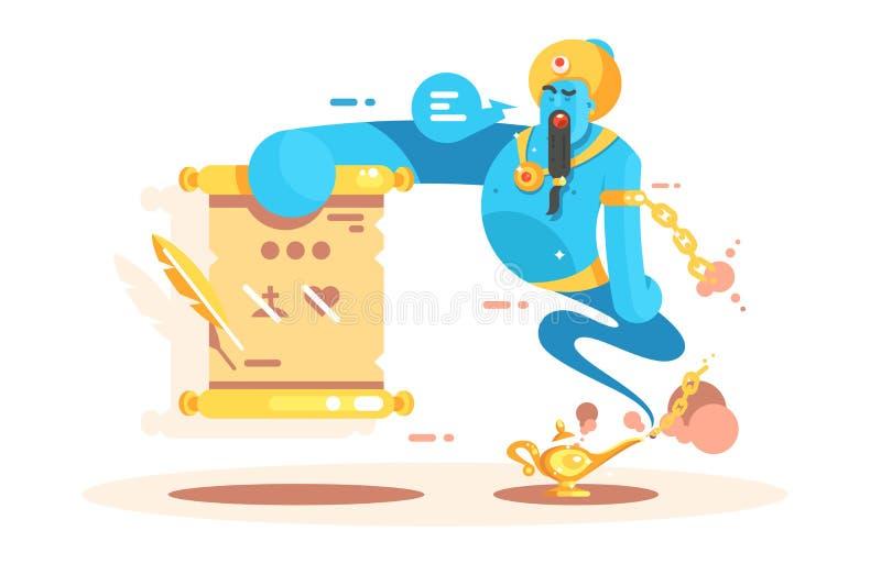 Genios del personaje de dibujos animados del cartel de oro de la lámpara ilustración del vector