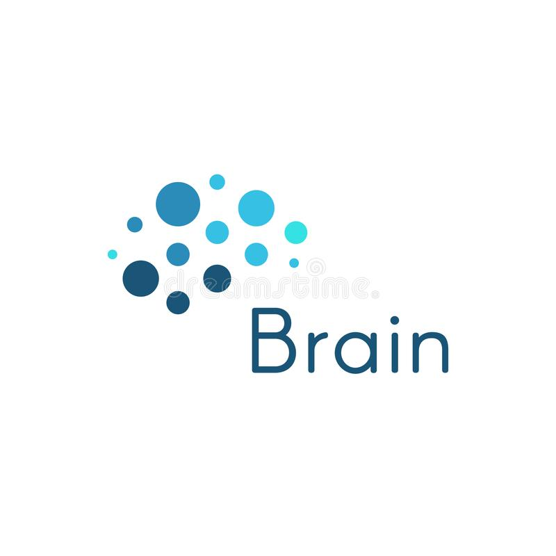 Genious brain, abstract blue circles medical and science vector logo template. Innovation development movement icon. stock illustration