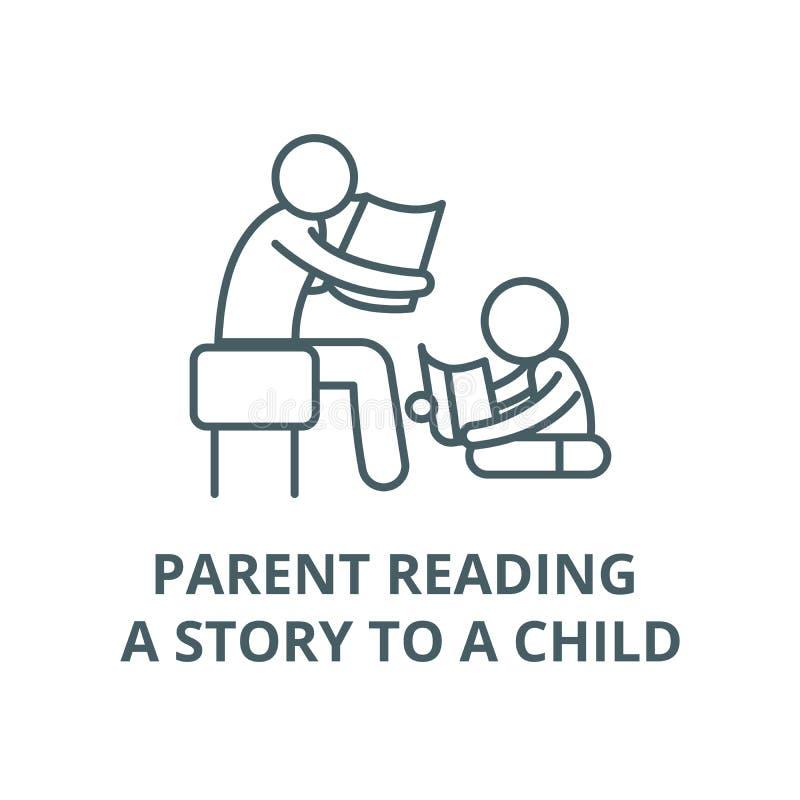 Genitore che legge una storia ad una linea icona, concetto lineare, segno del profilo, simbolo di vettore del bambino royalty illustrazione gratis