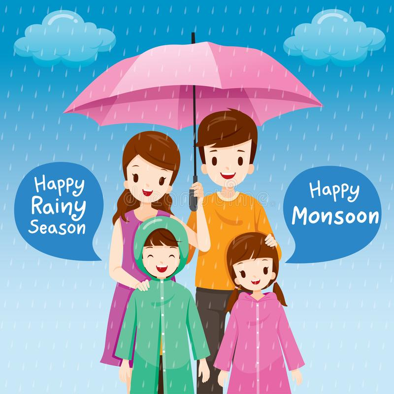 Genitore e bambini sotto l'ombrello insieme nella pioggia, Childre illustrazione vettoriale