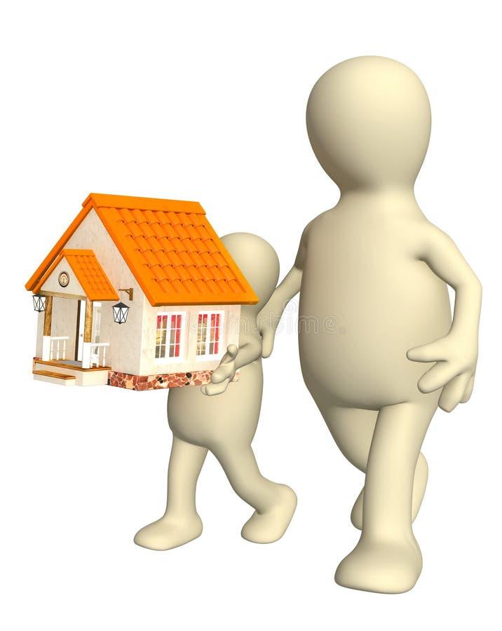 Genitore e bambino che trasportano una piccola casa royalty illustrazione gratis